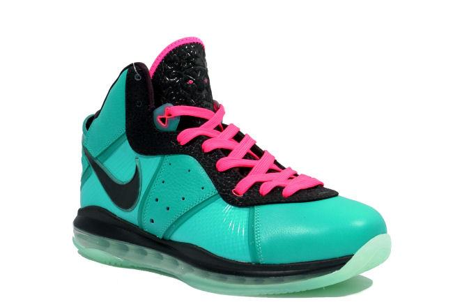 lebron 8. info: this miami vice inspired lebron 8 features a bright turqoise upper with black midsole. additional pink flash trim is used on the lace eyeles,